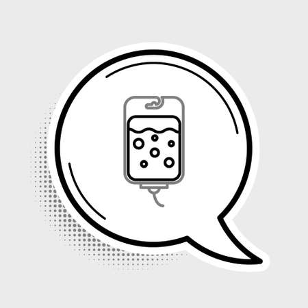 Line IV bag icon isolated on grey background. Blood bag icon. Donate blood concept. The concept of treatment and therapy, chemotherapy. Colorful outline concept. Vector  イラスト・ベクター素材