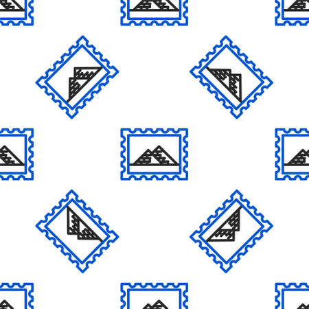 Line Postal stamp and Egypt pyramids icon isolated seamless pattern on white background. Colorful outline concept. Vector 向量圖像
