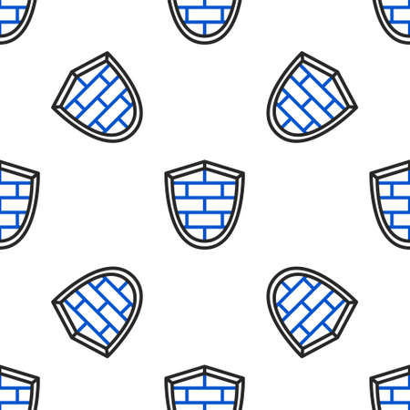 Line Shield with cyber security brick wall icon isolated seamless pattern on white background. Data protection symbol. Firewall logo. Network protection. Colorful outline concept. Vector 일러스트