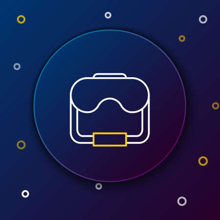 Line Diving mask icon isolated on blue background. Extreme sport. Diving underwater equipment. Colorful outline concept. Vector