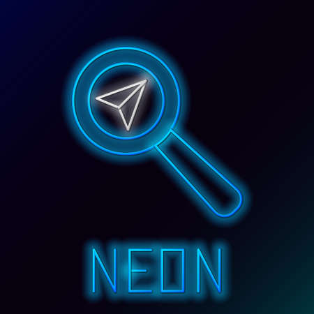 Glowing neon line Search location icon isolated on black background. Magnifying glass with pointer sign. Colorful outline concept. Vector 일러스트