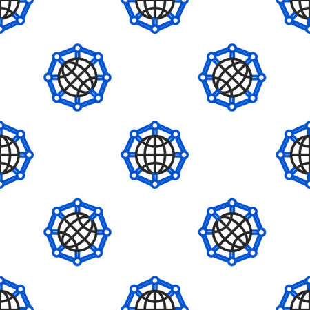 Line Global technology or social network icon isolated seamless pattern on white background. Colorful outline concept. Vector