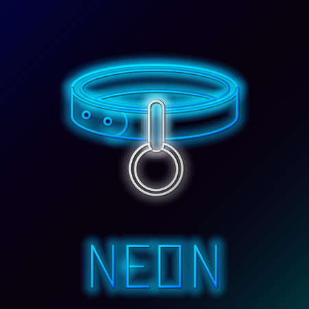 Glowing neon line Collar with name tag icon isolated on black background. Simple supplies for domestic animal. Cat and dog care. Pet chains. Colorful outline concept. Vector