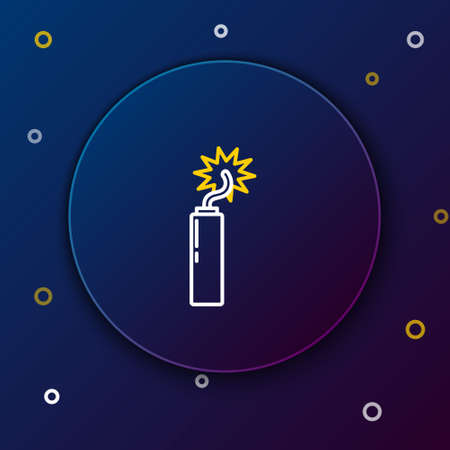 Line Detonate dynamite bomb stick clock icon isolated on blue background. Time bomb - explosion danger concept. Colorful outline concept. Vector