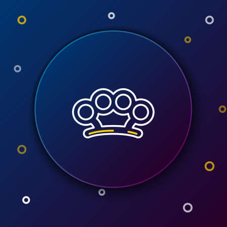 Line Brass knuckles icon isolated on blue background. Colorful outline concept. Vector Vettoriali