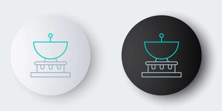 Line Planet Saturn with planetary ring system icon isolated on grey background. Colorful outline concept. Vector 일러스트