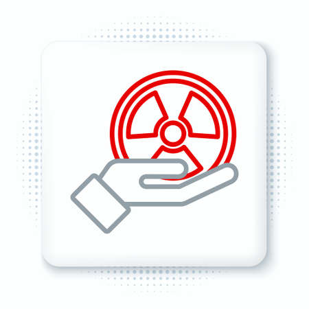 Line Radioactive in hand icon isolated on white background. Radioactive toxic symbol. Radiation Hazard sign. Colorful outline concept. Vector 向量圖像