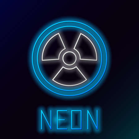 Glowing neon line Radioactive icon isolated on black background. Radioactive toxic symbol. Radiation Hazard sign. Colorful outline concept. Vector 向量圖像