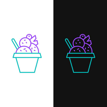 Line Ice cream in the bowl icon isolated on white and black background. Sweet symbol. Colorful outline concept. Vector