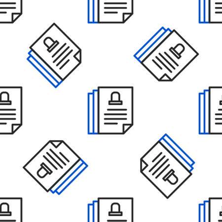 Line Death certificate icon isolated seamless pattern on white background. Colorful outline concept. Vector