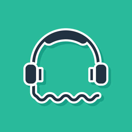 Blue Headphones icon isolated on green background. Support customer service, hotline, call center, faq, maintenance. Vector Illustration Vettoriali