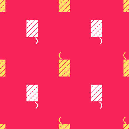 Yellow Firework rocket icon isolated seamless pattern on red background. Concept of fun party. Explosive pyrotechnic symbol. Vector 向量圖像