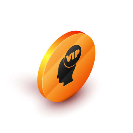 Isometric Vip inside human head icon isolated on white background. Orange circle button. Vector Vettoriali