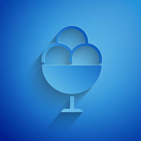 Paper cut Ice cream in the bowl icon isolated on blue background. Sweet symbol. Paper art style. Vector