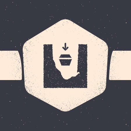 Grunge Coffin in grave icon isolated on grey background. Funeral ceremony. Monochrome vintage drawing. Vector