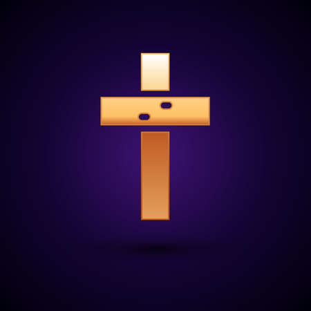 Gold Christian cross icon isolated on black background. Church cross. Vector
