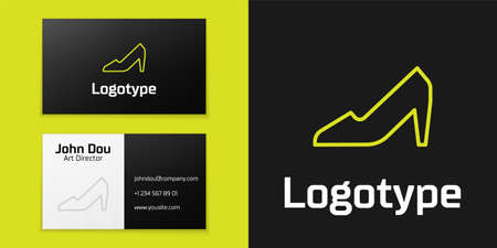 Logotype line Woman shoe with high heel icon isolated on black background. 8 March. International Happy Women Day. Logo design template element. Vector Illustration 矢量图像