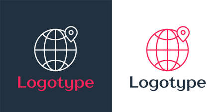 Logotype line Location on the globe icon isolated on white background. World or Earth sign. Logo design template element. Vector Illustration 일러스트