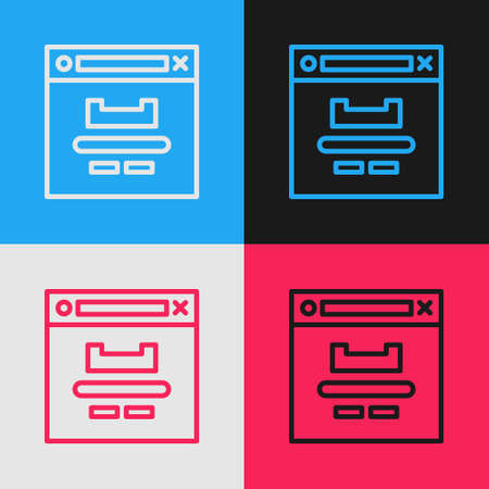 Pop art line Browser window icon isolated on color background. Vector Illustration