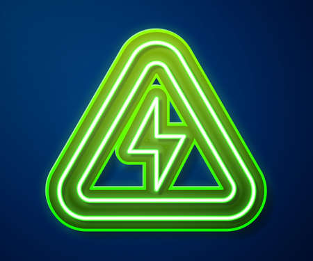 Glowing neon line High voltage icon isolated on blue background. Danger symbol. Arrow in triangle. Warning icon. Vector 向量圖像