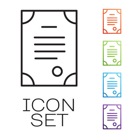 Black line Death certificate icon isolated on white background. Set icons colorful. Vector