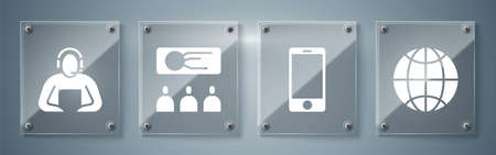 Set Social network, Mobile phone, Training, presentation and Student. Square glass panels. Vector