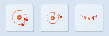 Set Vinyl player with disk, and Carnival garland flags. White square button. Vector