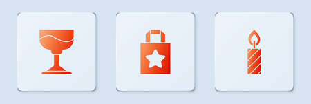 Set Paper shopping bag, Cocktail and Birthday cake candles. White square button. Vector