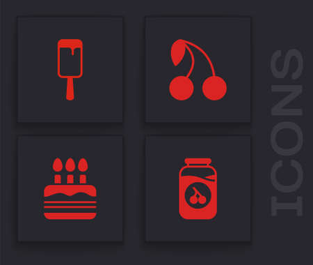 Set Cherry jam jar, Ice cream, and Cake with burning candles icon. Vector