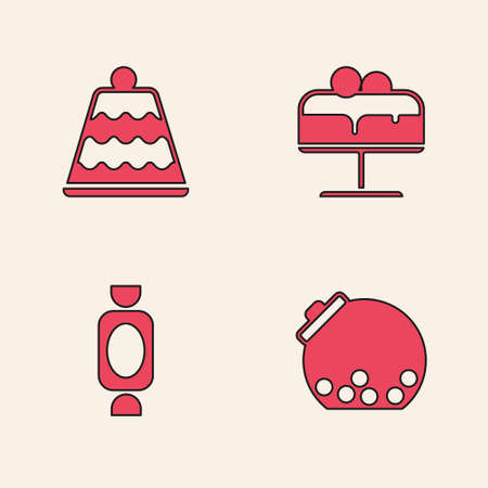 Set Glass jar with candies inside, Cake, on plate and Candy icon. Vector