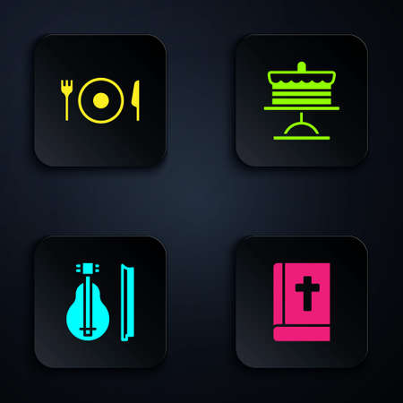 Set Holy bible book, Plate, fork and knife, Violin and Cake on plate. Black square button. Vector Vectores