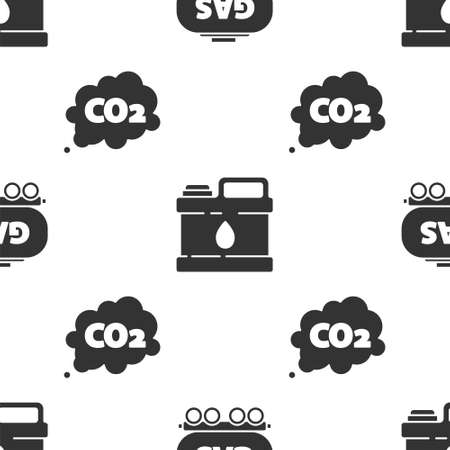 Set Gas railway cistern, Canister for motor machine oil and CO2 emissions in cloud on seamless pattern. Vector