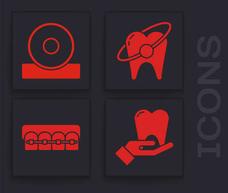 Set Tooth, Otolaryngological head reflector, Tooth whitening concept and Teeth with braces icon. Vector