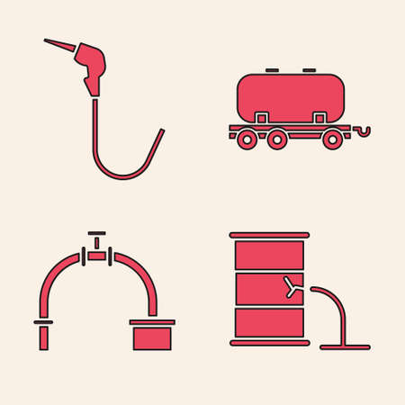 Set Barrel oil leak, Gasoline pump nozzle, Oil railway cistern and Industry pipe and valve icon. Vector