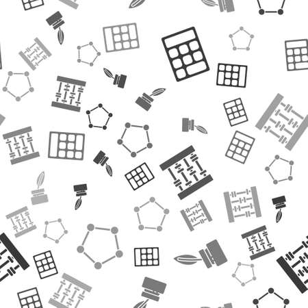 Set Calculator, Feather and inkwell, Abacus and Geometric figure Pentagonal prism on seamless pattern. Vector 向量圖像