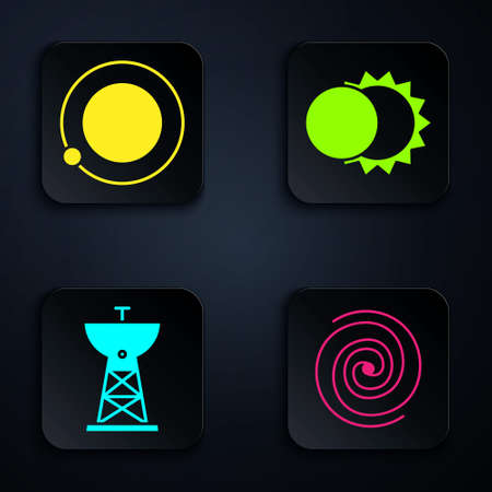 Set Black hole, Satellites orbiting the planet Earth, Satellite dish and Eclipse of the sun. Black square button. Vector