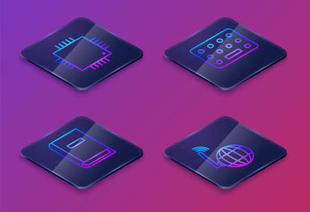 Set Isometric line Processor with microcircuits CPU, User manual, Pills in blister pack and Social network. Blue square button. Vector 일러스트