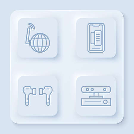 Set line Social network, Smartphone, mobile phone, Air headphones and Motion sensor. White square button. Vector