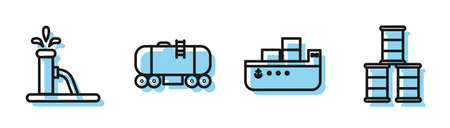 Set line Oil tanker ship, Oil pump or pump jack, Oil railway cistern and Barrel oil icon. Vector
