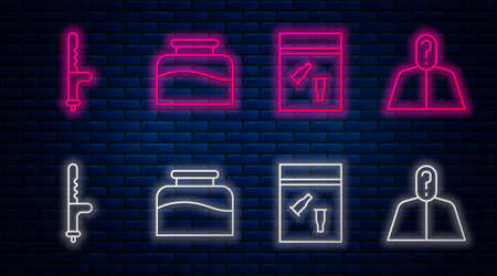 Set line Inkwell, Evidence bag and bullet, Police rubber baton and Anonymous with question mark. Glowing neon icon on brick wall. Vector