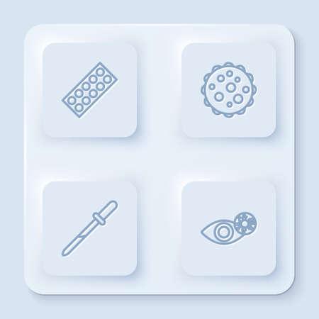 Set line Pills in blister pack, Virus, Pipette and Reddish eye due to virus. White square button. Vector