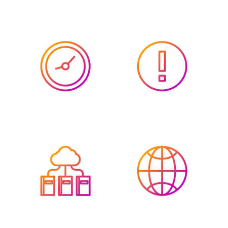 Set line Social network, Cloud online library, Clock and Information. Gradient color icons. Vector