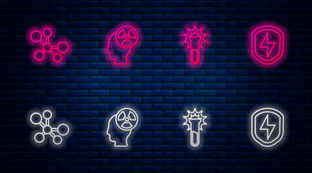Set line Head and radiation symbol, Test tube flask, Molecule and Secure shield with lightning. Glowing neon icon on brick wall. Vector