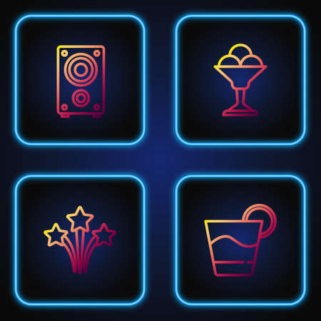 Set line Cocktail, Firework, Stereo speaker and Ice cream in bowl. Gradient color icons. Vector