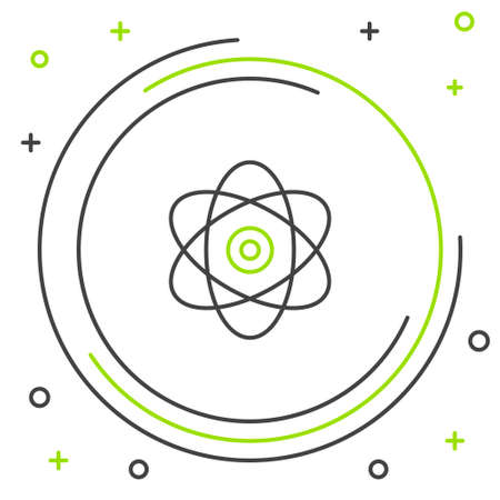 Line Atom icon isolated on white background. Symbol of science, education, nuclear physics, scientific research. Electrons and protons sign. Colorful outline concept. Vector