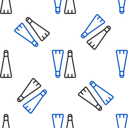 Line Rubber flippers for swimming icon isolated seamless pattern on white background. Diving equipment. Extreme sport. Diving underwater equipment. Colorful outline concept. Vector
