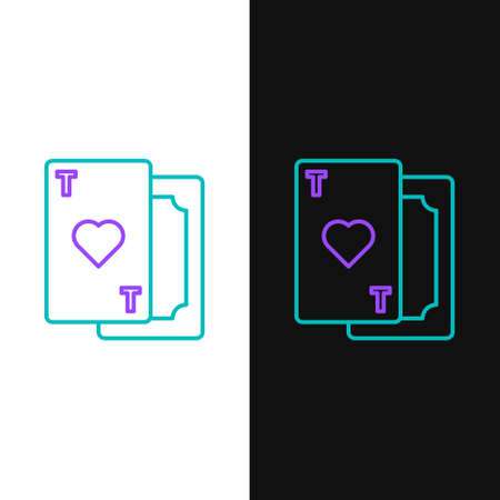 Line Playing card with heart symbol icon isolated on white and black background. Casino gambling. Colorful outline concept. Vector