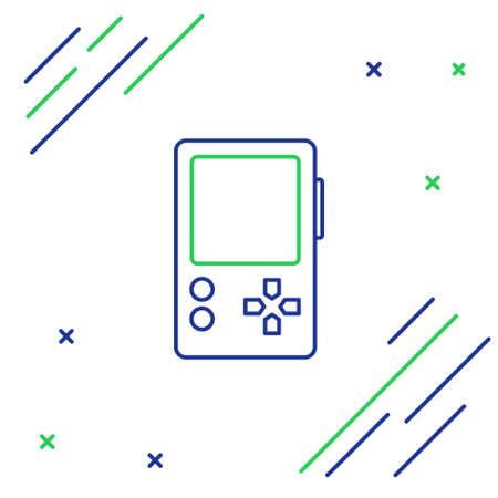 Line Portable video game console icon isolated on white background. Gamepad sign. Gaming concept. Colorful outline concept. Vector