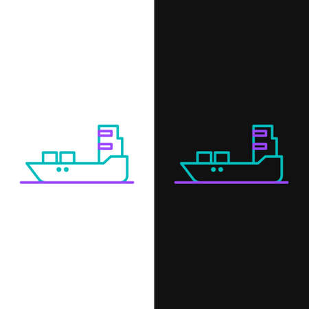 Line Oil tanker ship icon isolated on white and black background. Colorful outline concept. Vector