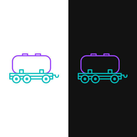 Line Oil railway cistern icon isolated on white and black background. Train oil tank on railway car. Rail freight. Oil industry. Colorful outline concept. Vector 向量圖像